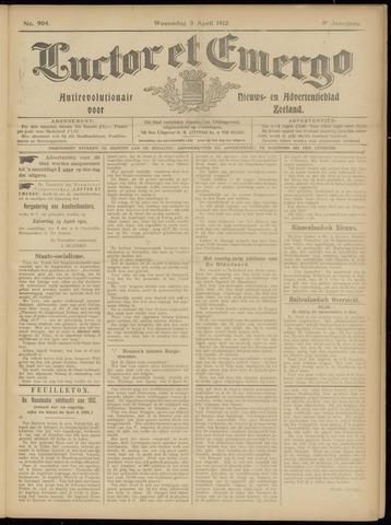Luctor et Emergo. Antirevolutionair nieuws- en advertentieblad voor Zeeland / Zeeuwsch-Vlaanderen. Orgaan ter verspreiding van de christelijke beginselen in Zeeuwsch-Vlaanderen 1912-04-03