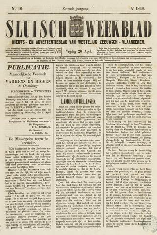 Sluisch Weekblad. Nieuws- en advertentieblad voor Westelijk Zeeuwsch-Vlaanderen 1866-04-20
