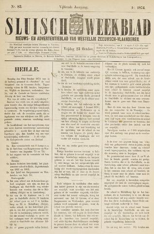 Sluisch Weekblad. Nieuws- en advertentieblad voor Westelijk Zeeuwsch-Vlaanderen 1874-10-23