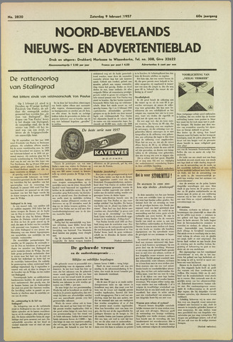 Noord-Bevelands Nieuws- en advertentieblad 1957-02-09