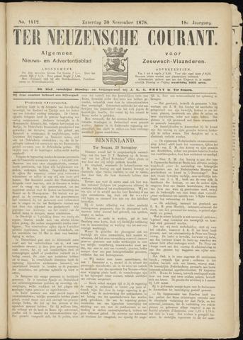 Ter Neuzensche Courant. Algemeen Nieuws- en Advertentieblad voor Zeeuwsch-Vlaanderen / Neuzensche Courant ... (idem) / (Algemeen) nieuws en advertentieblad voor Zeeuwsch-Vlaanderen 1878-11-30