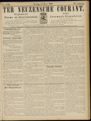 Ter Neuzensche Courant. Algemeen Nieuws- en Advertentieblad voor Zeeuwsch-Vlaanderen / Neuzensche Courant ... (idem) / (Algemeen) nieuws en advertentieblad voor Zeeuwsch-Vlaanderen 1908-03-17