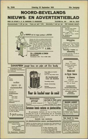 Noord-Bevelands Nieuws- en advertentieblad 1951-09-22