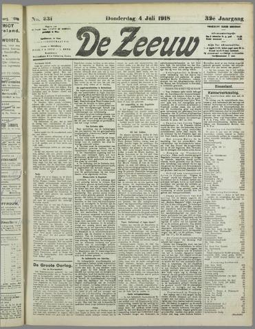 De Zeeuw. Christelijk-historisch nieuwsblad voor Zeeland 1918-07-04