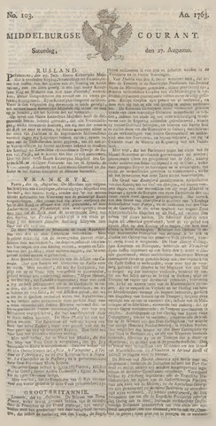 Middelburgsche Courant 1763-08-27