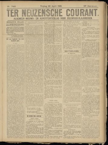 Ter Neuzensche Courant. Algemeen Nieuws- en Advertentieblad voor Zeeuwsch-Vlaanderen / Neuzensche Courant ... (idem) / (Algemeen) nieuws en advertentieblad voor Zeeuwsch-Vlaanderen 1923-04-20
