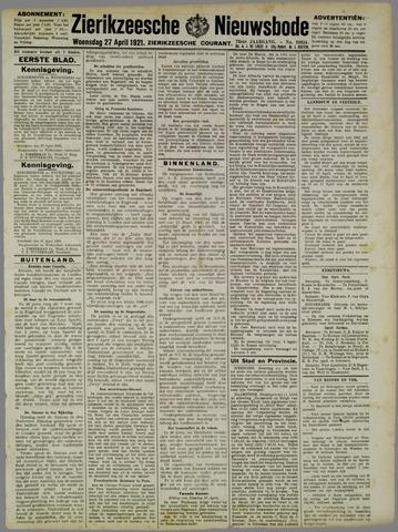 Zierikzeesche Nieuwsbode 1921-04-27