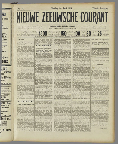 Nieuwe Zeeuwsche Courant 1914-06-30
