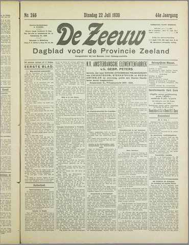 De Zeeuw. Christelijk-historisch nieuwsblad voor Zeeland 1930-07-22