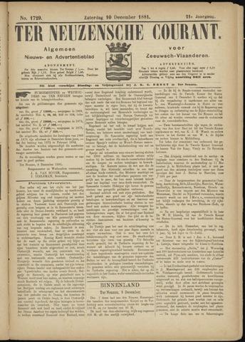 Ter Neuzensche Courant. Algemeen Nieuws- en Advertentieblad voor Zeeuwsch-Vlaanderen / Neuzensche Courant ... (idem) / (Algemeen) nieuws en advertentieblad voor Zeeuwsch-Vlaanderen 1881-12-10