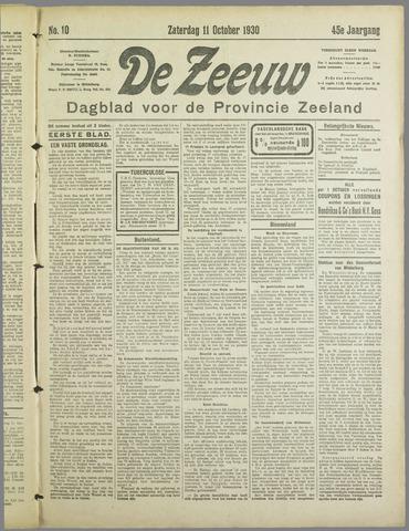 De Zeeuw. Christelijk-historisch nieuwsblad voor Zeeland 1930-10-11