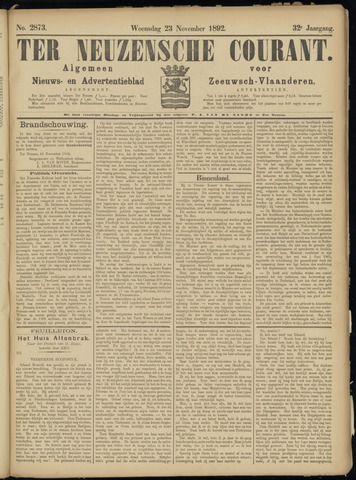 Ter Neuzensche Courant. Algemeen Nieuws- en Advertentieblad voor Zeeuwsch-Vlaanderen / Neuzensche Courant ... (idem) / (Algemeen) nieuws en advertentieblad voor Zeeuwsch-Vlaanderen 1892-11-23