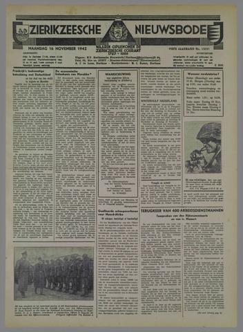 Zierikzeesche Nieuwsbode 1942-11-16