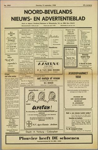 Noord-Bevelands Nieuws- en advertentieblad 1958-09-13