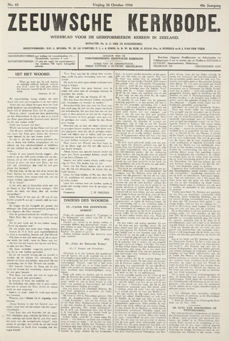 Zeeuwsche kerkbode, weekblad gewijd aan de belangen der gereformeerde kerken/ Zeeuwsch kerkblad 1934-10-26