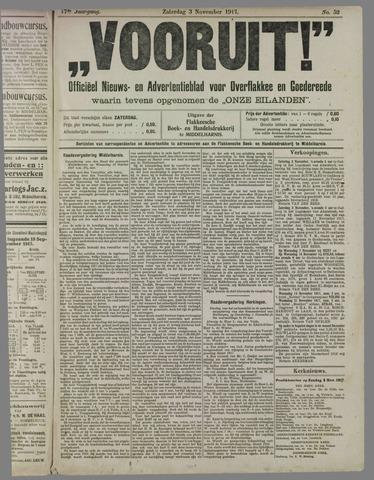 """""""Vooruit!""""Officieel Nieuws- en Advertentieblad voor Overflakkee en Goedereede 1917-11-03"""