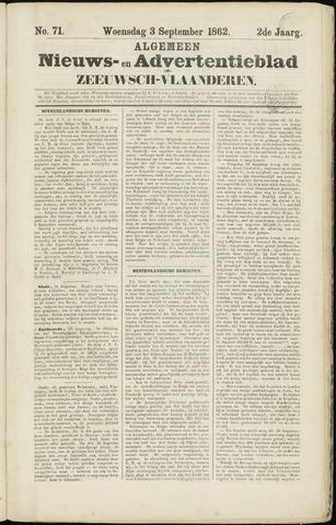 Ter Neuzensche Courant. Algemeen Nieuws- en Advertentieblad voor Zeeuwsch-Vlaanderen / Neuzensche Courant ... (idem) / (Algemeen) nieuws en advertentieblad voor Zeeuwsch-Vlaanderen 1862-09-03
