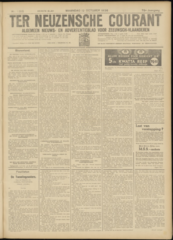 Ter Neuzensche Courant. Algemeen Nieuws- en Advertentieblad voor Zeeuwsch-Vlaanderen / Neuzensche Courant ... (idem) / (Algemeen) nieuws en advertentieblad voor Zeeuwsch-Vlaanderen 1936-10-12