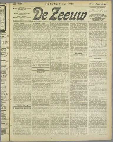 De Zeeuw. Christelijk-historisch nieuwsblad voor Zeeland 1920-07-08