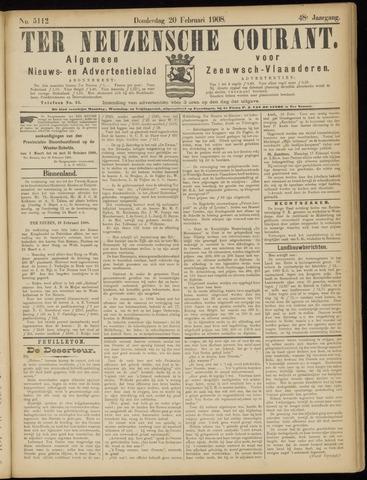 Ter Neuzensche Courant. Algemeen Nieuws- en Advertentieblad voor Zeeuwsch-Vlaanderen / Neuzensche Courant ... (idem) / (Algemeen) nieuws en advertentieblad voor Zeeuwsch-Vlaanderen 1908-02-20