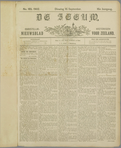 De Zeeuw. Christelijk-historisch nieuwsblad voor Zeeland 1902-09-16
