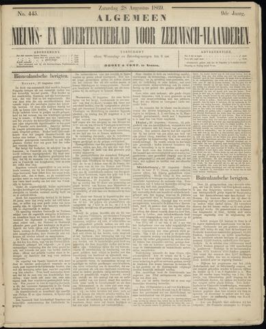 Ter Neuzensche Courant. Algemeen Nieuws- en Advertentieblad voor Zeeuwsch-Vlaanderen / Neuzensche Courant ... (idem) / (Algemeen) nieuws en advertentieblad voor Zeeuwsch-Vlaanderen 1869-08-28