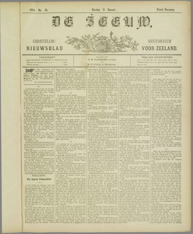 De Zeeuw. Christelijk-historisch nieuwsblad voor Zeeland 1896-01-21