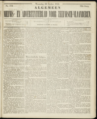 Ter Neuzensche Courant. Algemeen Nieuws- en Advertentieblad voor Zeeuwsch-Vlaanderen / Neuzensche Courant ... (idem) / (Algemeen) nieuws en advertentieblad voor Zeeuwsch-Vlaanderen 1872-10-23