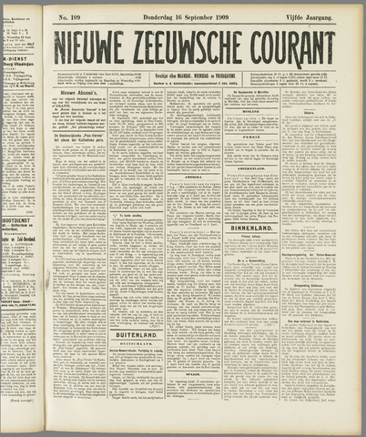 Nieuwe Zeeuwsche Courant 1909-09-16