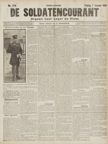 De Soldatencourant. Orgaan voor Leger en Vloot 1916-01-07