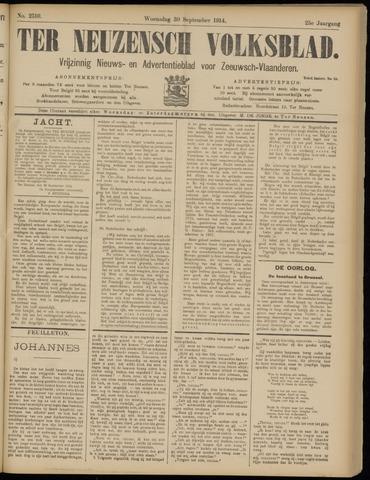 Ter Neuzensch Volksblad. Vrijzinnig nieuws- en advertentieblad voor Zeeuwsch- Vlaanderen / Zeeuwsch Nieuwsblad. Nieuws- en advertentieblad voor Zeeland 1914-09-30