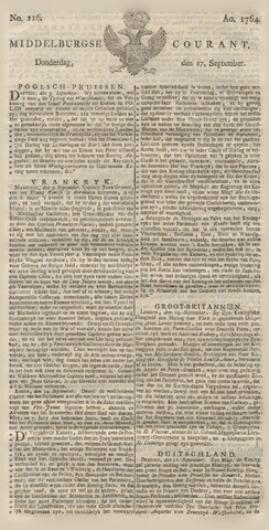 Middelburgsche Courant 1764-09-27