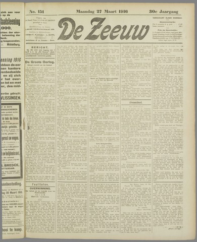 De Zeeuw. Christelijk-historisch nieuwsblad voor Zeeland 1916-03-27