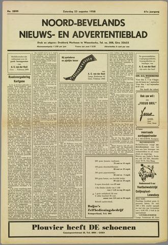 Noord-Bevelands Nieuws- en advertentieblad 1958-08-23