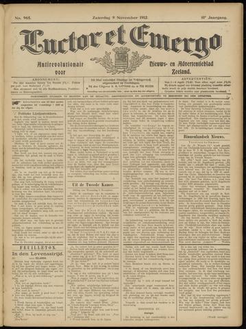 Luctor et Emergo. Antirevolutionair nieuws- en advertentieblad voor Zeeland / Zeeuwsch-Vlaanderen. Orgaan ter verspreiding van de christelijke beginselen in Zeeuwsch-Vlaanderen 1912-11-09