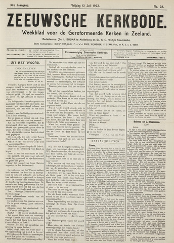 Zeeuwsche kerkbode, weekblad gewijd aan de belangen der gereformeerde kerken/ Zeeuwsch kerkblad 1923-07-13