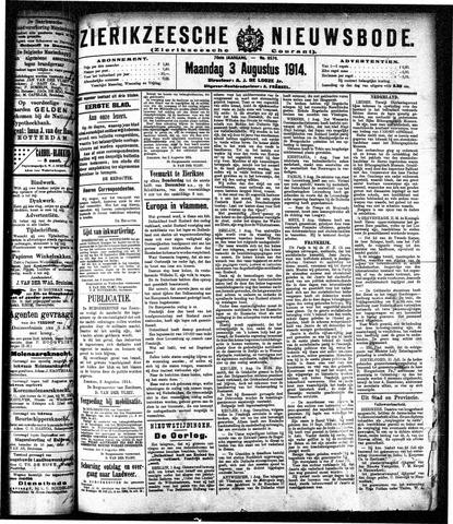 Zierikzeesche Nieuwsbode 1914-08-03