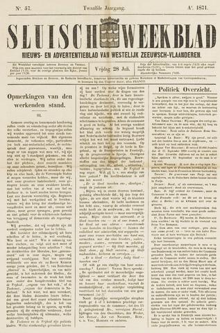 Sluisch Weekblad. Nieuws- en advertentieblad voor Westelijk Zeeuwsch-Vlaanderen 1871-07-28