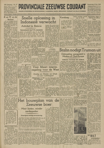 Provinciale Zeeuwse Courant 1949-02-03