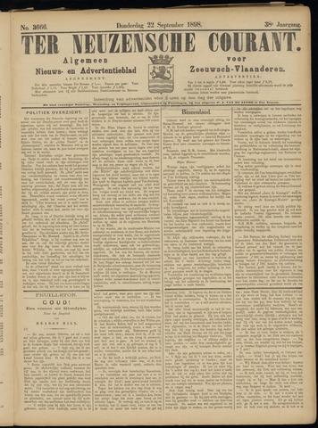 Ter Neuzensche Courant. Algemeen Nieuws- en Advertentieblad voor Zeeuwsch-Vlaanderen / Neuzensche Courant ... (idem) / (Algemeen) nieuws en advertentieblad voor Zeeuwsch-Vlaanderen 1898-09-22