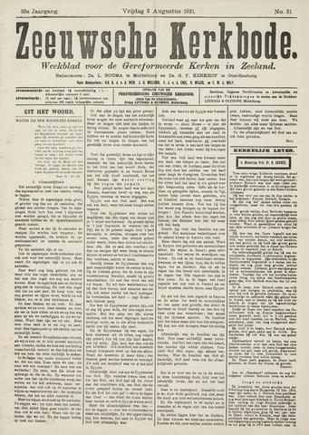 Zeeuwsche kerkbode, weekblad gewijd aan de belangen der gereformeerde kerken/ Zeeuwsch kerkblad 1921-08-05