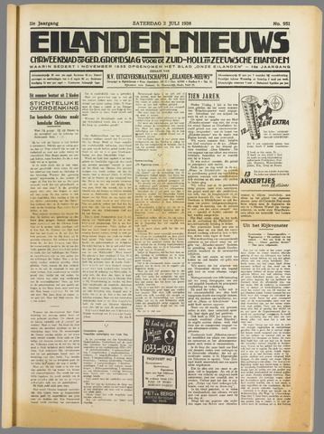 Eilanden-nieuws. Christelijk streekblad op gereformeerde grondslag 1938-07-02