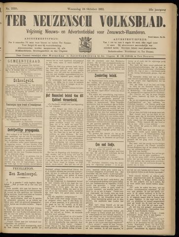 Ter Neuzensch Volksblad. Vrijzinnig nieuws- en advertentieblad voor Zeeuwsch- Vlaanderen / Zeeuwsch Nieuwsblad. Nieuws- en advertentieblad voor Zeeland 1911-10-18