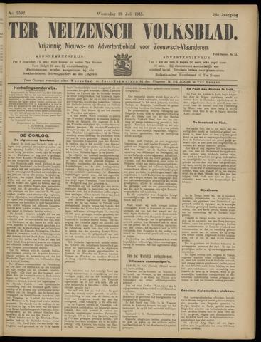Ter Neuzensch Volksblad. Vrijzinnig nieuws- en advertentieblad voor Zeeuwsch- Vlaanderen / Zeeuwsch Nieuwsblad. Nieuws- en advertentieblad voor Zeeland 1915-07-28