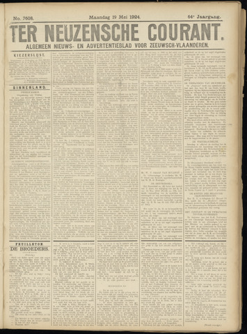 Ter Neuzensche Courant. Algemeen Nieuws- en Advertentieblad voor Zeeuwsch-Vlaanderen / Neuzensche Courant ... (idem) / (Algemeen) nieuws en advertentieblad voor Zeeuwsch-Vlaanderen 1924-05-19