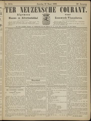 Ter Neuzensche Courant. Algemeen Nieuws- en Advertentieblad voor Zeeuwsch-Vlaanderen / Neuzensche Courant ... (idem) / (Algemeen) nieuws en advertentieblad voor Zeeuwsch-Vlaanderen 1886-03-20