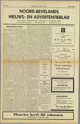 Noord-Bevelands Nieuws- en advertentieblad 1959