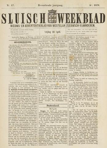 Sluisch Weekblad. Nieuws- en advertentieblad voor Westelijk Zeeuwsch-Vlaanderen 1876-04-28