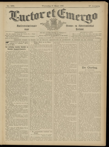 Luctor et Emergo. Antirevolutionair nieuws- en advertentieblad voor Zeeland / Zeeuwsch-Vlaanderen. Orgaan ter verspreiding van de christelijke beginselen in Zeeuwsch-Vlaanderen 1915-03-17