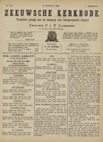 Zeeuwsche kerkbode, weekblad gewijd aan de belangen der gereformeerde kerken/ Zeeuwsch kerkblad 1890-08-23